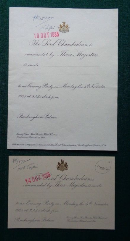 Antique PROOF Invitations to a Party Hosted by King George V Buckingham Palace